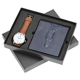 $enCountryForm.capitalKeyWord UK - Business Alligator Standard Wallets Photo Bit ID Card Holder Zipper Pouch Coin Pocket with Quartz Watch Gifts for Father Friends