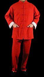 $enCountryForm.capitalKeyWord Australia - Premium Linen Red Kung Fu Martial Arts Taichi Uniform Suit XS-XL or Tailor Custom Made