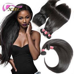brazilian human hair 28 inches 2019 - Brazilian Straight Hair Bundles with Lace Closure Malaysian Peruvian Indian Cambodian Virgin Human Hair Weave and Top Cl