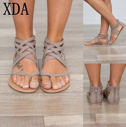 $enCountryForm.capitalKeyWord Canada - XDA Plus Size 35-43 Flats Summer Women's Sandals 2018 New Fashion Casual Shoes For Woman European Rome Style zipper Sandals W315