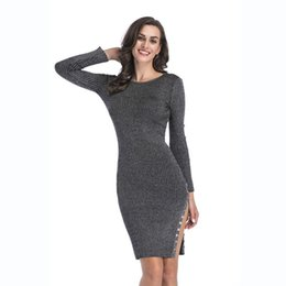 Tight Buttoned Dress NZ - Autumn New Style A Red Wine And Black Color Decoration with Button Knitted Dress Slit to the Tight Long Breech Skirt