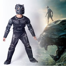 Civil War Costumes Halloween Australia - Ainiel Kids Black Panther Muscle Costume Civil War American Captain Cosplay Halloween Party Fancy Dress Jumpsuit Boy