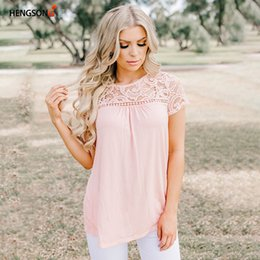 Women Fashion Lace Australia - Summer T-Shirt Women Lace Top Tees Chiffon Yarn Women's Clothing Slim T-shirt Fashion Casual Women Clothes 847644