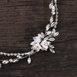 Hair Halo Wholesale NZ - Handmade wedding hair accessories rhinestone Bride Headbands Bridal Headpiece Crystal Halo Hairband silver color Leaf crown