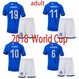 fbd24d6a9 Top quality 2018 World Cup Qualification Italy adult Soccer jersey home  blue Bonucci VERRATTI De Rossi Chiellini Italy jersey Football Shirt