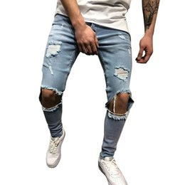 plus size destroyed jeans NZ - Men Jeans Stretch Destroyed Ripped Design Fashion Ankle Zipper Skinny Jeans For Men Homme Stretch Pencil Pants Plus Size