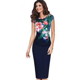 naturals flower UK - Lcw New Fashion Womens Elegant Vintage Floral Flower Printed Ruched Pinup Casual Party Sheath Special Occasion Bodycon Dress
