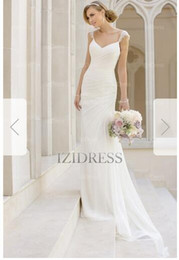 Wedding Dress Ribbon Straps Australia - Sheath Column Spaghetti Straps Court Train Chiffon Wedding Dress