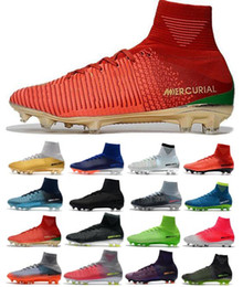 boys cristiano ronaldo shoes 2019 - 2018 Boy Mercurial Unisex Superfly V FG Soccer Cleats Cristiano Ronaldo Men CR7 Kids Soccer Shoes Children football boot