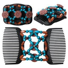 1pcs / lot classico nero marrone rosso girasole africano farfalla facile magico doppio capelli elastici perline di legno pettini di nuovo modo