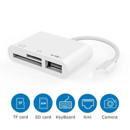 Venta al por mayor de Lector de tarjetas 3 en 1 Lightning to USBSD / TF OTG Cable adaptador multifunción para iPhone SE 5 6 7 8 iPhoneX iPad ios Lectura rápida desde el teléfono
