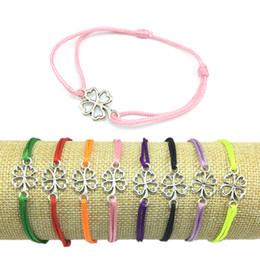 Discount clover bracelets wholesale - Wish Bracelet Clover Alloy Pendant Friendship Bracelet Four Leaf Clover Charm Adjustable Cord Good Luck Wish