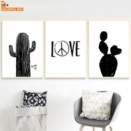 Black White Canvas Wall Prints NZ - COLORFULBOY Wall Art Print Black White Nordic Poster Cactus Quotes Canvas Painting Pop Art Wall Pictures For Living Room Decor