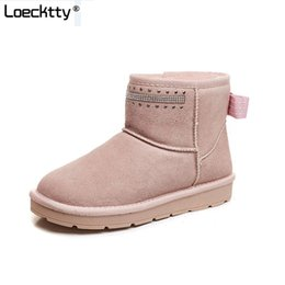 high tops for women UK - Genuine leather Fu Snow boots women Top High quality Australia Winter Boots for women Warm Botas Mujer snow boots girls