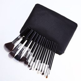 Chinese  15 make-up brush sets top grade paint brushes handle neutral with pu zipper pack makeup tools manufacturers