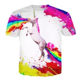 Wholesale rainbow t shirt online – design Newest Fashion Mens Womens Summer Style Unicorn Vomiting Rainbow SPEW Funny D Print Casual T Shirt DXR0076