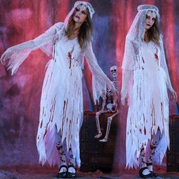 c396cc74081dd Halloween Scary White Bloody Mary Costume Cosplay Long Dress Halloween  Theme Party Zombie Nurse Ghost Bride Costume
