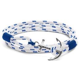 2017 nova moda azul royal tom esperança âncora pulseira pulseiras de ouro / prata banhado a corda e box set venda por atacado
