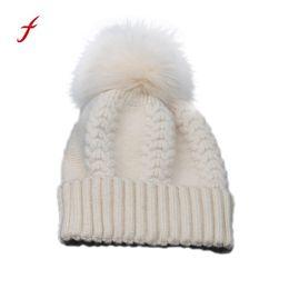$enCountryForm.capitalKeyWord NZ - 2018 New Fashion Women Winter Hat Cap Cotton Warm Women Winter Crochet Hat Fur Wool Knit Beanie Raccoon Warm Cap