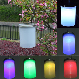 led cylinders UK - IP65 Waterproof Solar Power Garden Hanging Lamp Cylinder Lanterns LED Landscape Path Outdoor Patio Holidays Decoration Light Q0750