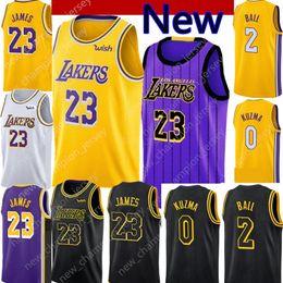 2019 New 23 LeBron James Los Angeles Lakers 2 Lonzo Ball 0 Kyle Kuzma 14  Brandon Ingram Basketball Jerseys 8 kobe Black city fcbd4ace9