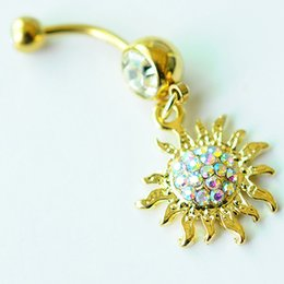 ImItatIon sunflowers online shopping - D0700 color Gold Color Sunflower navel button ring piercing body jewlery belly ring Body Jewelry