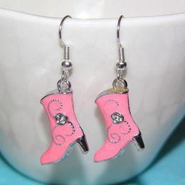 $enCountryForm.capitalKeyWord NZ - Hot Sale Zinc Alloy Drop Glaze Pink 3D Cowboy Boots Charm Pendants Drape Earring Women Jewelry Holiday Gifts Free Shipping 20Pair Lot