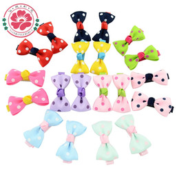 little hair clips Australia - 100 Pcs Lot Little Girl Hair Accessories Boutique Hairpins Kids Ribbon Bows With Clip Dots Bowknot Hair Clips 607