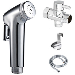"single hose UK - Free SHipping Toilet Bathroom Women's Handheld Portable bidet KIT Diaper Sprayer SET Shattaf head+hose+ wall holder+7 8"" Brass T-adapter"