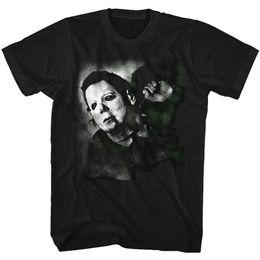 Music Band Tees UK - Halloween Tall T-Shirt Michael Myers Stabbed in Neck Black Tee T Shirt Men Male Costume Custom Short Sleeve 3XL Music Band Tee Shirts