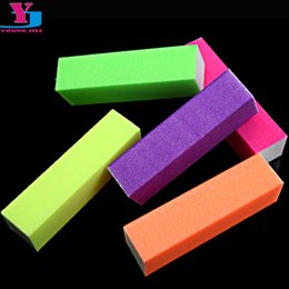 buffing blocks NZ - 50pcs lot Wholesale Fluorescent Color Buffing Sanding Buffer Block Nail Art Manicure Tips Tool esponja maquiagem mix color