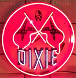 """18 tube 2019 - Dixie Gasoline Car Auto Real Glass Tube neon sign Handcrafted Automotive signs Shop Signage Signage 18""""x18"""" ch"""