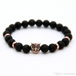 $enCountryForm.capitalKeyWord NZ - New Design 1PCS 8mm Lave Stone Beads Gold Silver Rose Plated Lion Owl Best Gift Bracelets