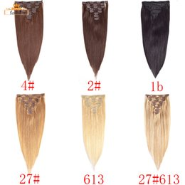 Wholesale Full Head Straight Clip In Human Hair Extensions Brazilian Virgin Hair Unprocessed Peruvian Human Hair Weaves Per Set DHgate Selling