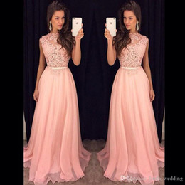 Wholesale New Arrival Lace Top Long Evening Dress High Quality Pink Chiffon Women Party Gown Plus Size