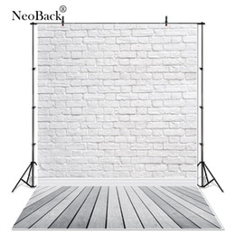 China NeoBack White Brick and Grey Wood Floor Studio Portrait Photo Backgrounds Thin Vinyl Photo Backdrops Newborn Photocall P3518 cheap grey backdrops suppliers