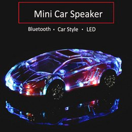 Portable Mp3 Amplifier Speaker UK - Portable Bluetooth Wieless Speaker Colorful Crystal LED Light Mini Car Shape Amplifier Loudspeaker Support TF FM MP3 Music Player MIS184