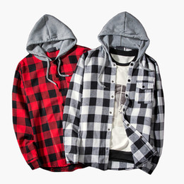 China Men Plaid Shirts 2018 Autumn Fashion Men Long Sleeve Red black Cotton Hooded Casual Camisas Shirts Camisa Masculina M-XXL supplier red plaid hooded shirt suppliers