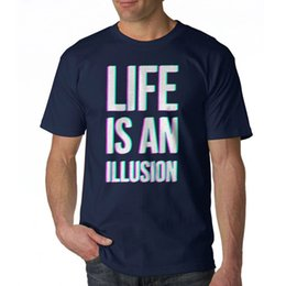 Cotton Navy Canada - Newest 2018 Life Is An Illusion Men's Navy T-shirt NEW Sizes S-2XL Cotton Tee Shirts Short-sleeve Designer shirts
