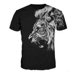 Verão Tee Tops Preto gótico 3D Lion t-shirt Dos Homens de Fitness Punk Rock T-shirt 2018 Casual Mens Streetwear Hip Hop Camiseta Tops venda por atacado