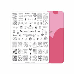 nail art day NZ - XXL Valentine's Day CICI&SISI Nail Art Stamping Plates Stamping Stamp Template Accessories Heart Pattern Image Rectangular Plate