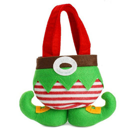 Party bag kids online shopping - Non Woven Fabric Elves Shape Pocket Bag Christmas Decorations Elf Pants Stocking Candy Bags For Kids Gift Party Supplies dz jj