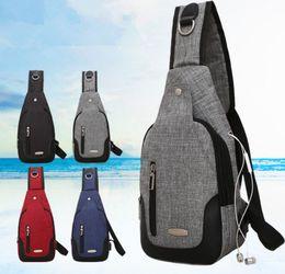 31e8c28f63c 4styles USB chest bag Crossbody Bag Casual men Travel Rucksack Sling Bags  Women Shoulder Back Pack FFA888 5PCS