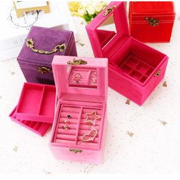 $enCountryForm.capitalKeyWord NZ - Hot Sale flannel 3 Layers Jewelry Packaging Box storage boxes 4 Colors Jewelry Carrying Boxes Case 12x12x12cm