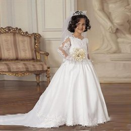 Ball frock design online shopping - A line First Communion Dresses Kids Frock Designs Formal Wear White Lace Applique Long Sleeve Flower Girls Dresses