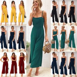 Jumpsuit Wide Legged Chiffon NZ - New Fashion women Chiffon jumpsuits wide leg pants Sexy strap wrapped chest zipper rompers Plus Size Spring summer playsuits