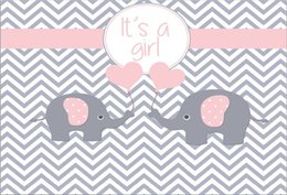 Grey backdrops online shopping - 7x5FT Grey Gray Chevron Wall Pink Elephant It is Girl Baby Shower Custom Photo Studio Backdrop Background Vinyl cm x cm