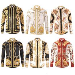 Wholesale men's v neck dress shirt resale online – Men brand shirts runway look print long sleeve plus size d dress shirt designer luxury shirts men s clothing