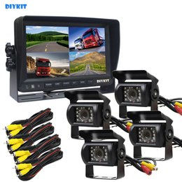x vision camera NZ - DIYKIT Video Recording 7inch 4 Split QUAD Rear View Monitor Car Monitor + 4 x CCD IR Night Vision Rear View Camera