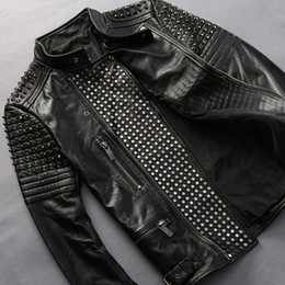 Punk Motorcycle Jacket Australia - Men's motorcycle leather Jacket lapel oblique zipper rivet First layer of leather cowhide male Motor coats